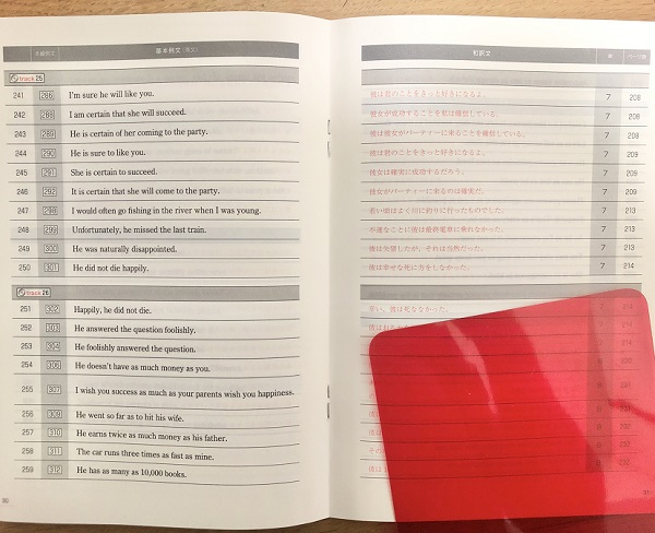 英文法の核の別冊の「基本例文500」
