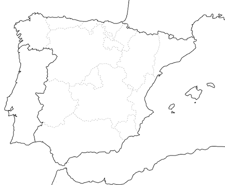 イベリア半島の地図